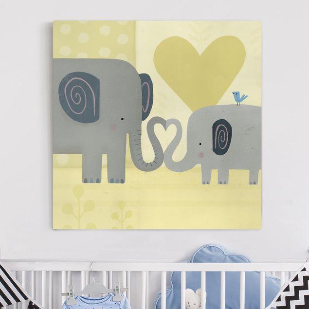 Leinwandbild - Mama und ich - Elefanten - Quadrat 1:1