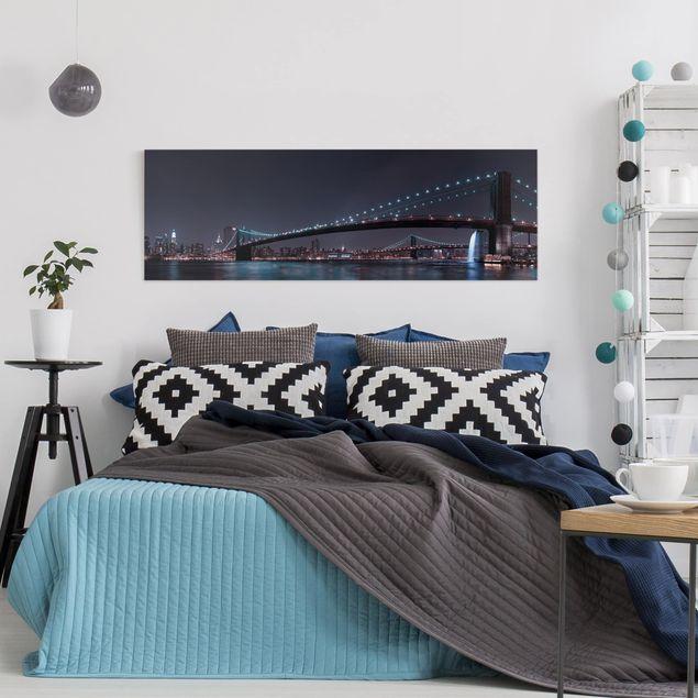 Leinwandbild - Manhattan Skyline und Brooklyn Bridge - Panorama Quer