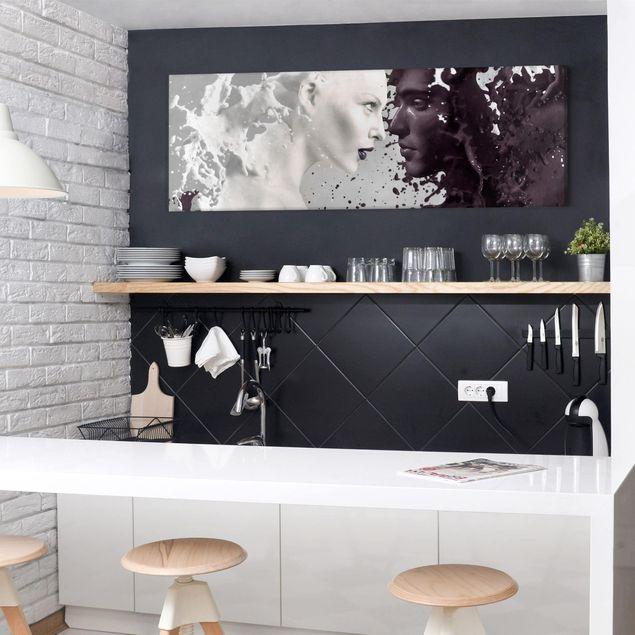 Leinwandbild Schwarz-Weiß - Milk & Coffee - Panoramabild Quer