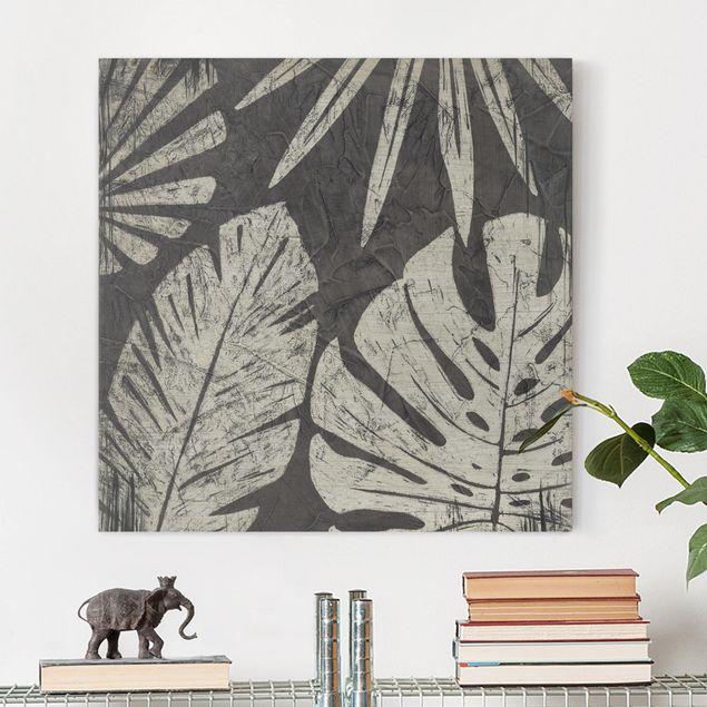 Leinwandbild - Palmenblätter vor Dunkelgrau - Quadrat 1:1