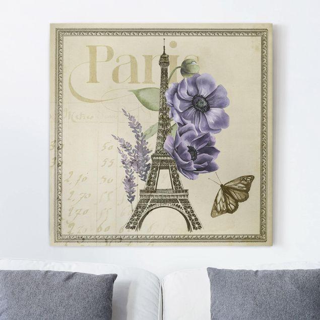 Leinwandbild - Paris Collage Eiffelturm - Quadrat 1:1
