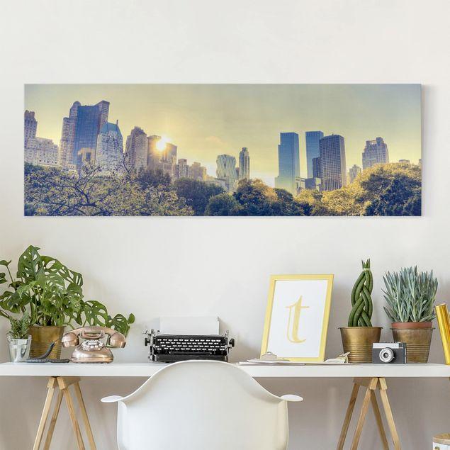 Leinwandbild Peaceful Central Park - New York Panoramabild Quer