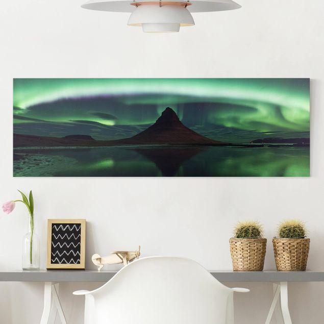Leinwandbild - Polarlicht in Island - Panorama Quer