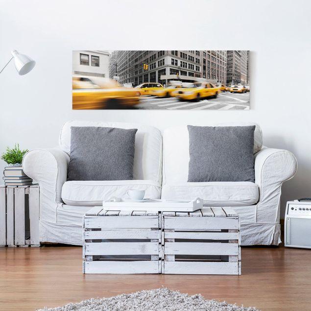 Leinwandbild Schwarz-Weiß - Rasantes New York - Panoramabild Quer