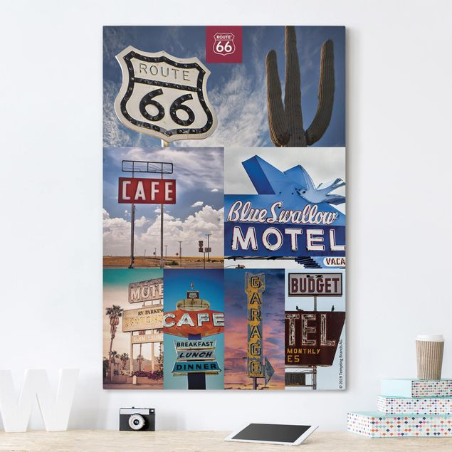 Leinwandbild - Route 66 - Collage Blaues Motel - Hochformat 3:2