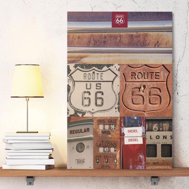 Leinwandbild - Route 66 - Collage Rostige Schilder - Hochformat 3:2
