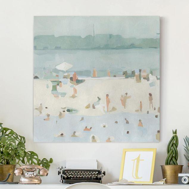 Leinwandbild - Sandbank im Meer I - Quadrat 1:1