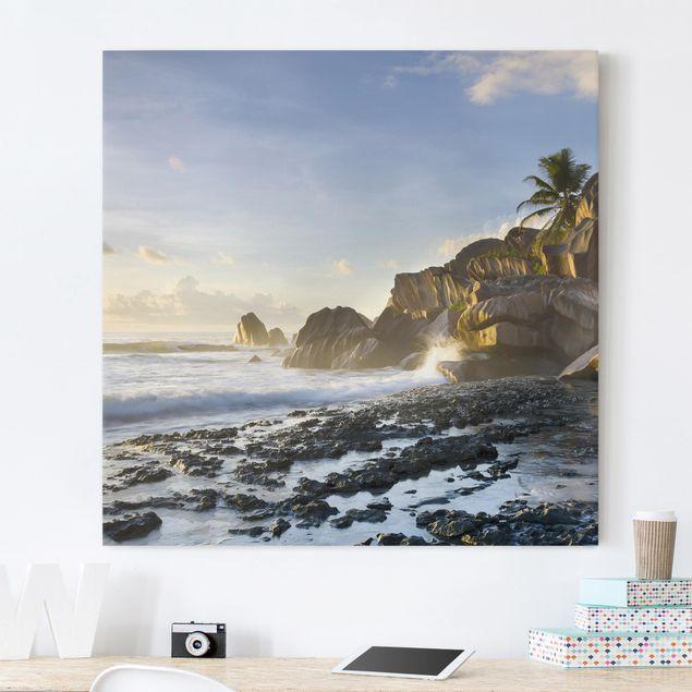 Leinwandbild - Sonnenuntergang im Inselparadies - Quadrat 1:1