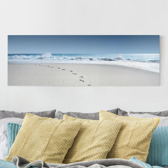 Leinwandbild Spuren im Sand - Strand Panoramabild Quer, Blau, Beige