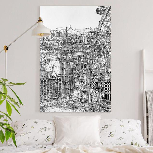 Leinwandbild - Stadtstudie - London Eye - Hochformat 3:2