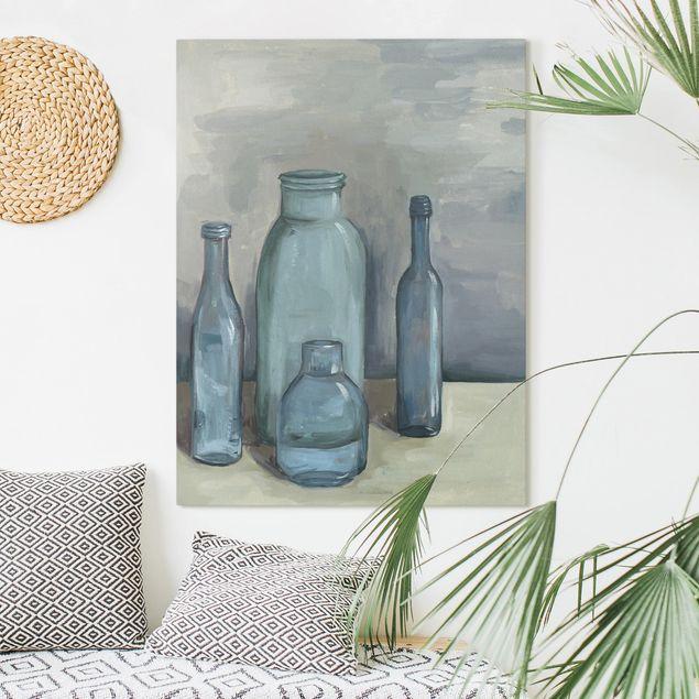 Leinwandbild - Stillleben mit Glasflaschen II - Hochformat 4:3