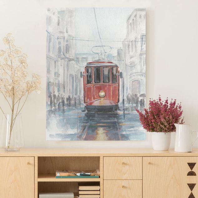 Leinwandbild - Straßenbahn-Studie I - Hochformat 4:3