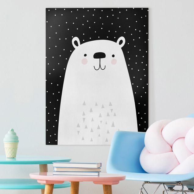 Leinwandbild - Tierpark mit Mustern - Eisbär - Hochformat 4:3
