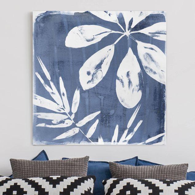 Leinwandbild - Tropische Blätter Indigo I - Quadrat 1:1