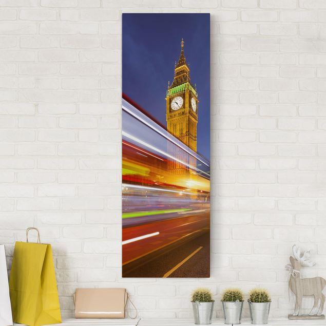 Leinwandbild - Verkehr In London am Big Ben bei Nacht - Hoch 2:3