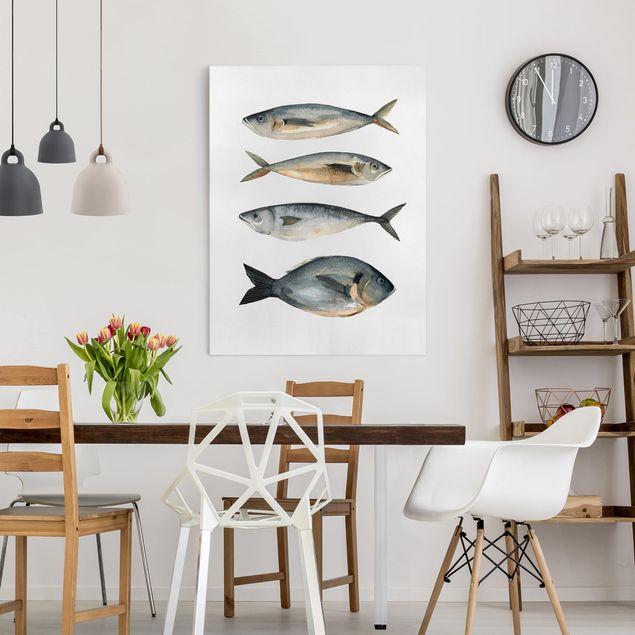 Leinwandbild - Vier Fische in Aquarell I - Hochformat 4:3