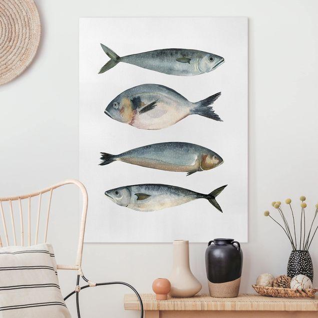 Leinwandbild - Vier Fische in Aquarell II - Hochformat 4:3