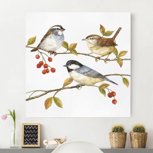 Leinwandbild - Vögel und Beeren - Meisen - Quadrat 1:1