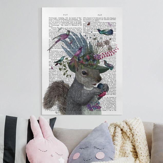 Leinwandbild - Vogelfänger - Eichhörnchen mit Eicheln - Hochformat 4:3
