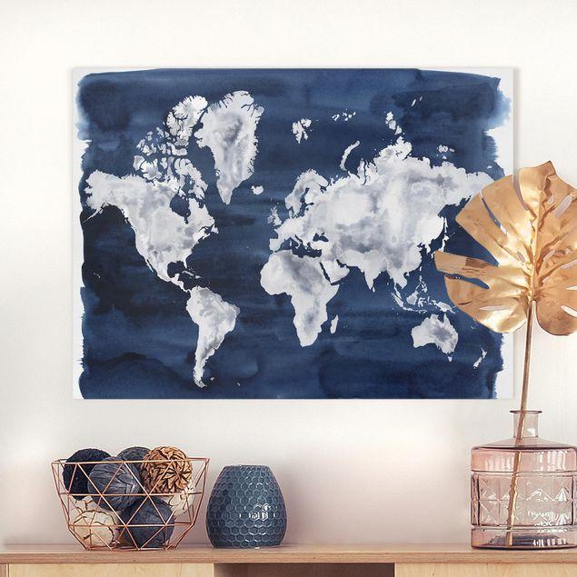 Leinwandbild - Wasser-Weltkarte dunkel - Querformat 3:4