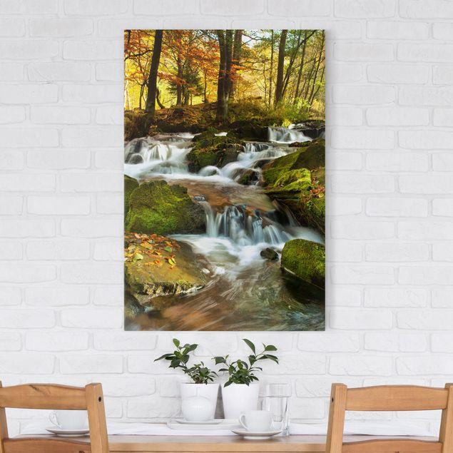 Leinwandbild - Wasserfall herbstlicher Wald - Hoch 2:3