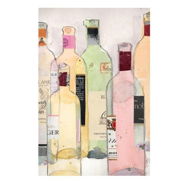 Leinwandbild - Weinflaschen in Wasserfarbe I - Hochformat 3:2