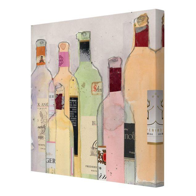 Leinwandbild - Weinflaschen in Wasserfarbe I - Quadrat 1:1
