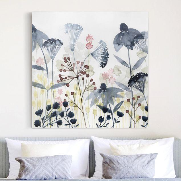 Leinwandbild - Wildblumen Aquarell I - Quadrat 1:1
