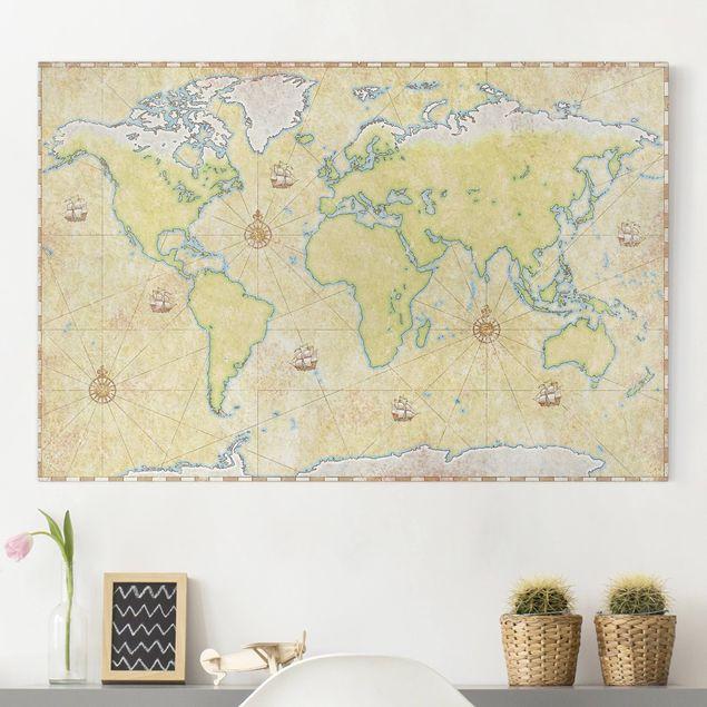 Leinwandbild - World Map - Quer 3:2