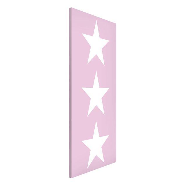 Magnettafel - Große Weiße Sterne auf Rosa - Memoboard Panorama Hoch