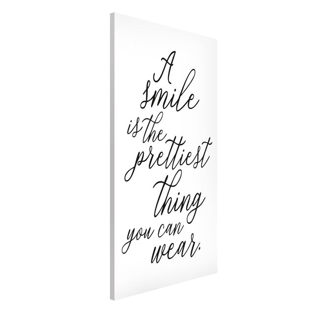 Magnettafel - A smile is the prettiest thing - Memoboard Hochformat