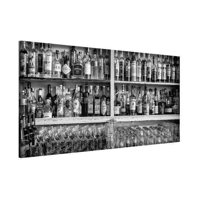 Magnettafel - Bar Schwarz Weiß - Memoboard Panorama Querformat