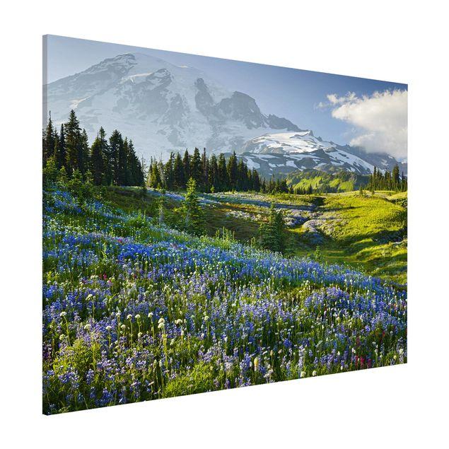 Magnettafel - Bergwiese mit Blumen vor Mt. Rainier - Memoboard Querformat