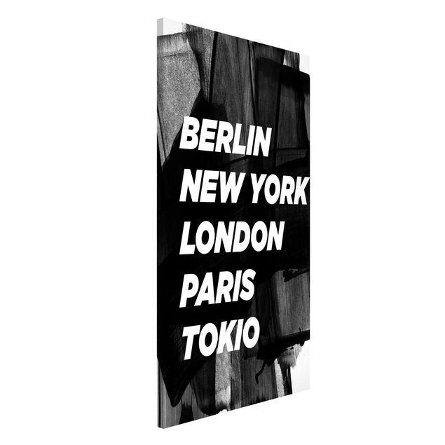 Magnettafel - Berlin New York London - Memoboard Hochformat