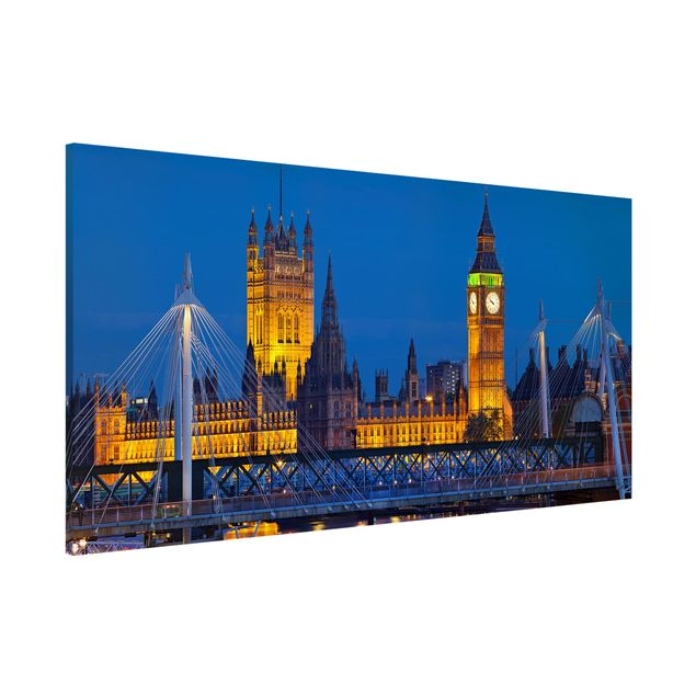 Magnettafel - Big Ben und Westminster Palace in London bei Nacht - Memoboard Panorama Quer
