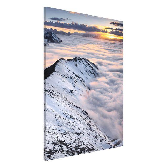 Magnettafel - Blick über Wolken und Berge - Memoboard Hochformat