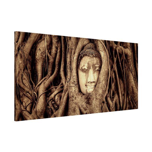 Magnettafel - Buddha in Ayutthaya von Baumwurzeln gesäumt in Braun - Memoboard Panorama Quer