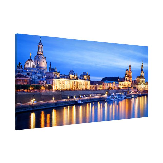Magnettafel - Canaletto Blick bei Nacht - Memoboard Panorama Quer
