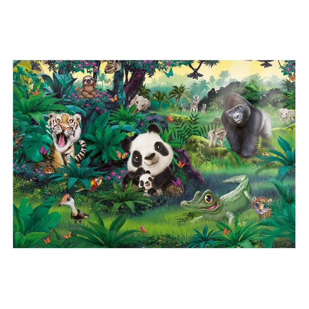 Magnettafel - Dschungel mit Tieren - Memoboard Querformat
