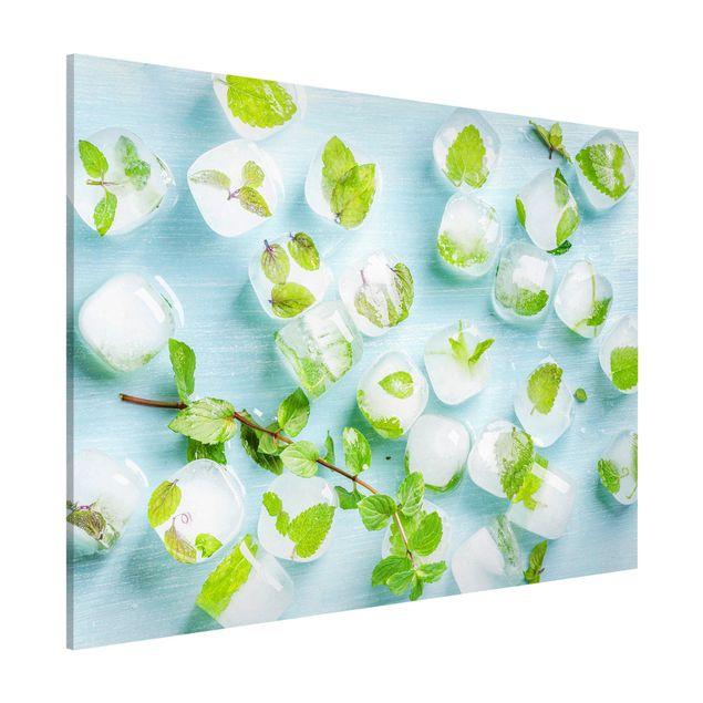 Magnettafel - Eiswürfel mit Minzblättern - Memoboard Querformat