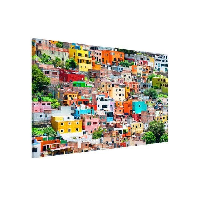 Magnettafel - Farbige Häuserfront Guanajuato - Memoboard Panorama Quer