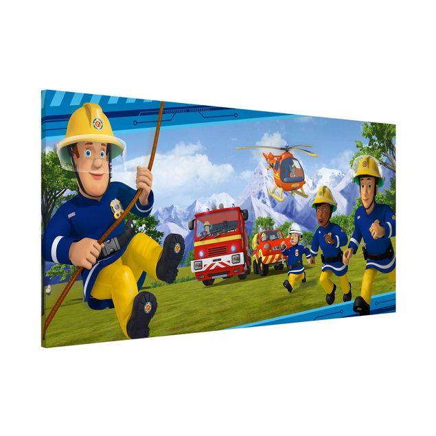 Magnettafel - Feuerwehrmann Sam - Immer in Aktion - Memoboard Panorama Querformat