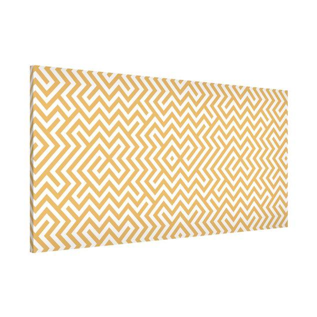 Magnettafel - Geometrisches Musterdesign Gelb - Memoboard Panorama Quer