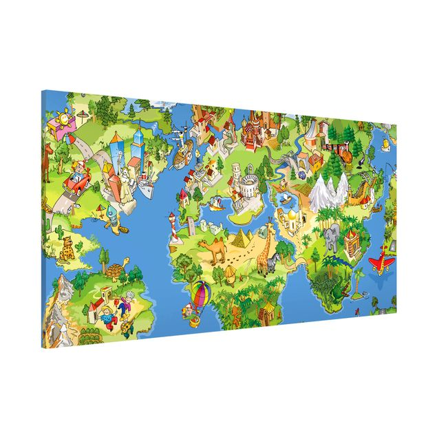 Magnettafel - Kinderzimmer - Great and funny Worldmap - Memoboard Panorama Quer