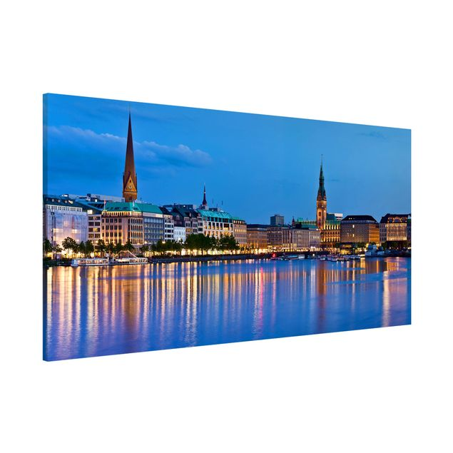 Magnettafel - Hamburg Skyline - Memoboard Panorama Quer