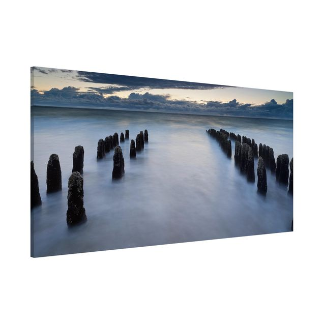 Magnettafel - Holzbuhnen in der Nordsee auf Sylt - Memoboard Panorama Quer