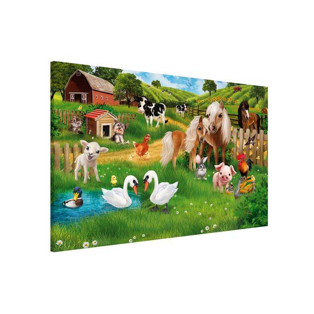 Magnettafel Kinderzimmer - Tiere auf dem Bauernhof - Memoboard Querformat