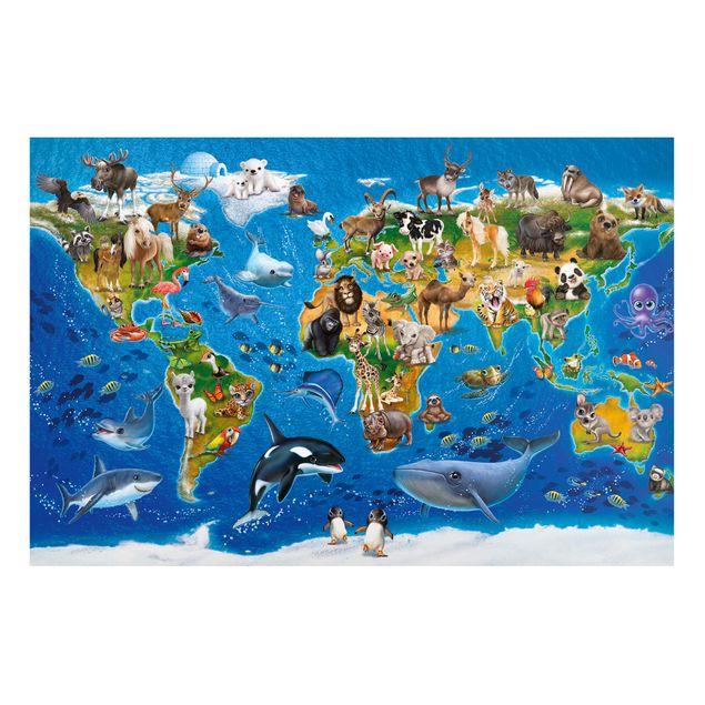 Magnettafel Kinderzimmer - Weltkarte mit Tieren - Memoboard Querformat
