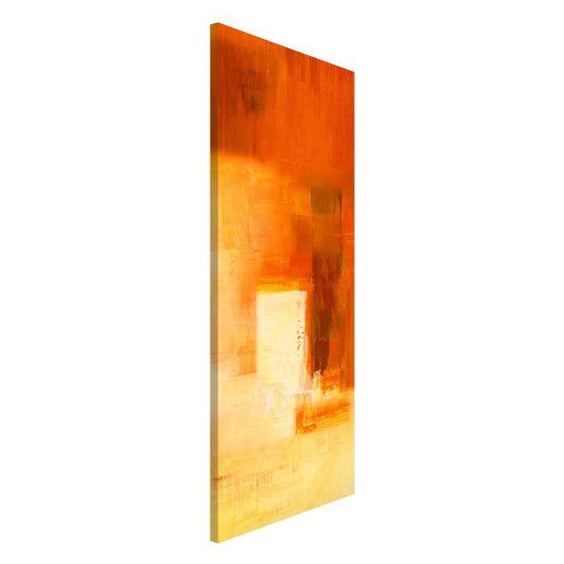 Magnettafel - Petra Schüßler - Komposition in Orange und Braun 03 - Memoboard Panorama Hochformat