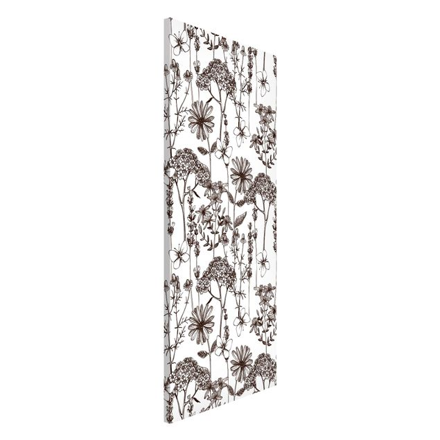 Magnettafel - Kräuter mit Schmetterlingen - Memoboard Panorama Hochformat